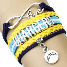 High Quality Infinity Love NFL San Diego Chargers Football Team Bracelet Navy Blue Gold Custom Any Styles/Themes