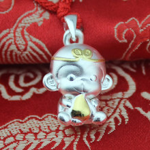 Silver jewelry processing wholesale Sterling Silver Pendant Zodiac monkey monkey 999 thousand Zuyin GZ16D5 year of fate