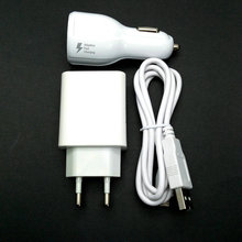 2.4A EU Travel Wall Adapter 2 USB output + Micro USB Cable +car charger For Alcatel One Touch Pop 3 5.5 OT5025 5025D 5025