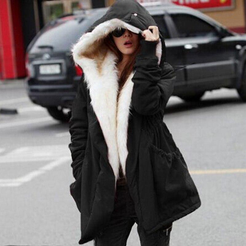 Europe Fashion Big Fur Collar Long Sleeve Hooded Warm Inside Cotton Jacket Solid Color Cardigan Women Winter Long Coat MZ1743Îäåæäà è àêñåññóàðû<br><br>