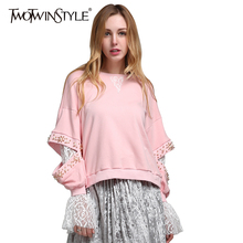 TWOTWINSTYLE 2017 Korean Lace Beading Long Sleeve Female Sweatshirts Hoodies for Women's Pullover Clothes Korean Pink Fashion(China)