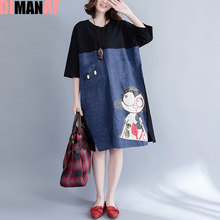 DIMANAF Women Summer Dress Plus Size Cotton Character Cartoon Print Patchwork Linen Denim Show Thin Female Casual Fashion Dress(China)