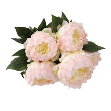 Hot Vintage Artificial 5-Head Peony Silk Flower Wedding Party Decor (Light Pink)(China)