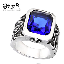 BEIER Vintage Cool Retro Stainless Steel Rings 316L Gothic Crackle Blue/Black Stone Jewerly For Man BR8-236(China)