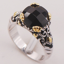 Black Onyx Women 925 Sterling Silver Ring F689 Size 6 7 8 9 10