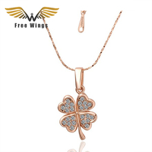 2016 Fashion  gold color plated And Silver Plated four clovers necklaces crystals Nickle free anti-allergic Women Jewelry F0031