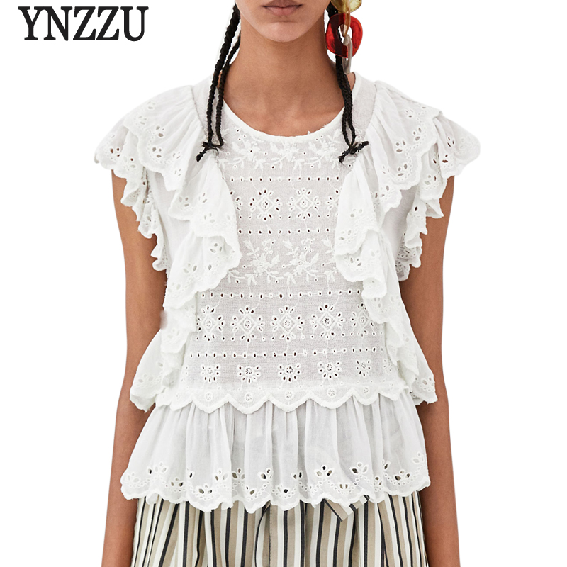 YNZZU Ruffles Elegant Women Tops and Blouses Solid Floral Embroidery O Neck Loose White Lace Blouse clothes blusa feminina YT433