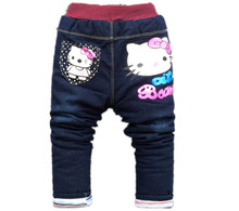 Winter kids girls jean Hello Kitty pants cashmere pants elastic waist girls legging Trousers spring children Boys Denim Pants