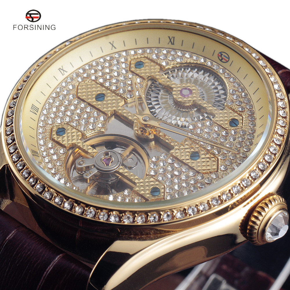 2017 Forsining New Diamond Design Bezel Gold Mens Watches Top Luxury Montre Homme Clock Men Automatic Tourbillon Skeleton Watch<br>