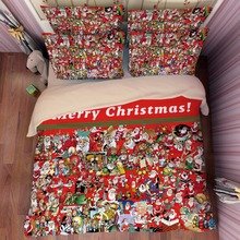Christmas santa claus printed queen twin duvet cover red bedding set children home textile adult winter festival gift