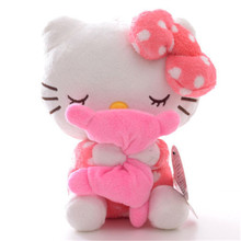 Adorable Soft Pink Dots Sleeping Hello Kitty Hold Pillow Plush Japan Ainime Kitten Cat Dolls Toys 8'' New