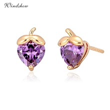 6Colors Cute Yellow Gold Color Multi Colors Heart Cut CZ Strawberry Fruit Small Stud Earrings for Girls Kids Child Jewelry Aros