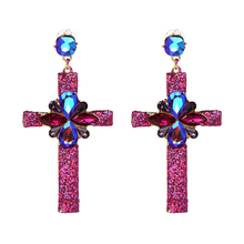 2017 Hot Earring Jewelry good quality Crystal Multicolor Special Bohemia Big long CROSS EARRINGS Wholesale Price F50400(China)