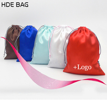 Cheapest Satin Bag for Hair Satin Ribbon Hair Gift Bag Travel Cloth Shoes Storage Bags Drawstring Pouch Wholesale(China)