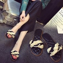 Black plaid 2017 silks and satins pearl twisted knitted inlaying open toe flat sandals slippers female(China)