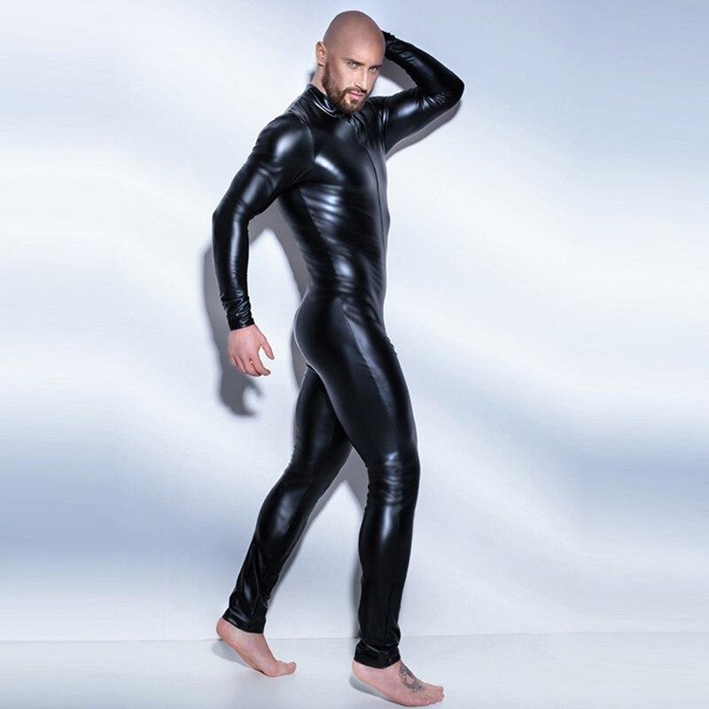 Black Wetlook Men\`s Fullbody Zentai Catsuit for Men One Piece Patent Leather Leotard Zipper Perfermance Costume Plus Size 4XL W930917 10.10 S-4XL (4)