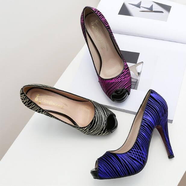 Spring&amp;Autumn Peep toe 10cm up heel shoes women party shoe big size 34-43 black/purple/blue women Pumps free shipping<br><br>Aliexpress