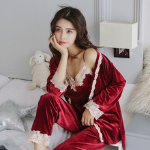 Flannel pajamas women autumn winter sexy lace harness trousers dressing gown Three-piece suit gold velvet home service suits(China)