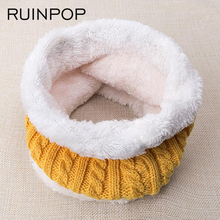 RUINPOP Children Winter Scarf For Women Men General Kids Scarf Thickened Collar Scarves Boys Girls Neck Ring Scarf Cotton Unisex