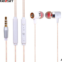 Haissky Earphones With Microphone Super Bass Transparent Perfume Line 3.5mm Headset For iPhone 6 6s Xiaomi earphone smartphones