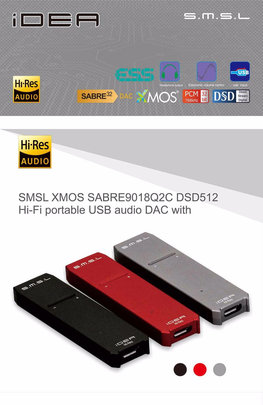 SMSL IDEA MINI HIFI SABRE9018Q2C XMOS DSD512 Hifi Audio Portable USB DAC and headphone amplifier 3.5mm headphone jack output
