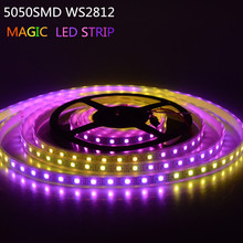Newest RGB Magic Led Strip Multicolor 5050 SMD WS2812 Waterproof IP67 DC5V Led String Light Fita De Led Lamp for Swimming Pool(China)