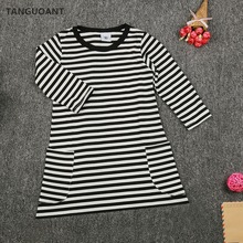 TANGUOANT New 2017 spring girls dresses stripe kids dress children casual long sleeve dress children dresses girls