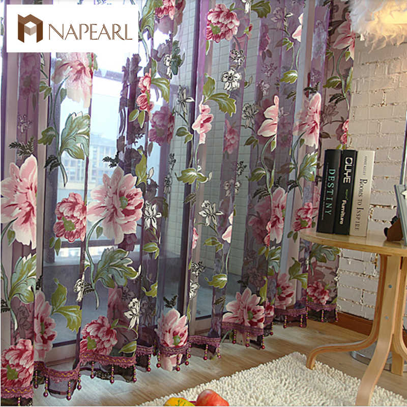 NAPEARL New classical classic flower curtain window screening customize finished products purple tulle curtain
