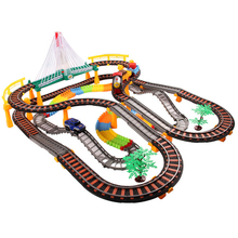 Super Pack Large Assembly Electric Flashing Trains Model Slot Track Set Children Creative Toys Trackmaster Miniature Vehicles(China)
