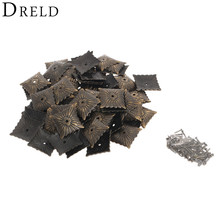 100Pcs Iron tachas Furniture Hardware Nails Bronze Antique Decorative Upholstery Nails Tack Studs Door Sofa Home Decor 21x21mm(China)