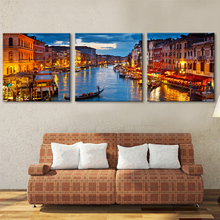 Art Print Oil Painting City Canal Decoration Painting Home Decor On Canvas Modern Wall Art Canvas Print Poster Canvas Painting(China)