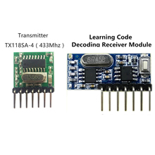 433 Mhz Wireless Receiver and Transmitter Remote Control Learning Code 1527 Decoding Module 4 Ch output With Learning Button(China)