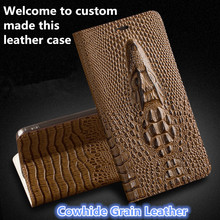 JC10 Crocodile head Pattern Genuine Leather Flip Case For Samsung Galaxy C5 C5000 Phone Case with Card Slot free shipping
