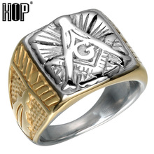 HIP Punk Two Tone Gold Color Titanium Stainless Steel Free Mason Freemasonry Masonic Rings for Men Jewelry(China)
