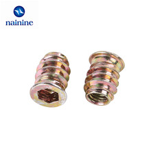 10Pcs M6/M8*13/15/17/20 Zinc Alloy Iron Inside And Outside Teeth Embedded Hex Nut Wood Furniture Nut HW035