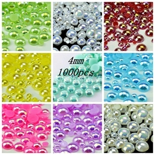 Free Shipping 1000Pcs/lot Size 4mm AB Colors Imitation Pearls Half Round Flatback Beads DIY Decoration(China)
