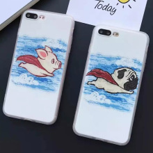 7 Plus Cute Super Dog Superpig with Cloak Cartoon Pattern Matte Case Covers for iPhone 7Plus 5.5inch Coque de telephone Bags