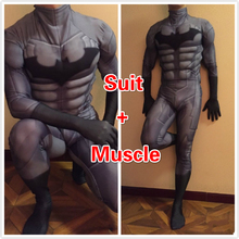 High Quality Custom Made Super Hero Batman costume With Muscle Adult Men Spandex Lycra Cosplay Costume