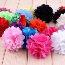 "120pcs/lot 2"" 20 Colors Mini Satin Mesh Hair Flower For Kids Girls Hair Accessories Artificial Fabric Flowers For Headbands"