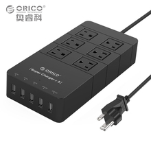 ORICO HPC-6A5U-US-BK Surge Protection Power Socket with 5 Port 40W USB Charger for Ipad Iphone (Black)