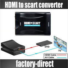 1080P HDMI to Scart Converter AV Signal Adapter Converter HD Receiver hdmi for TV BOX DVD with US/EU/UK Power Adapter Support