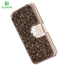 FLOVEME For Samsung S7 Cover S7 Edge Bling Rhinestone Wallet Case For Samsung Galaxy S7 Edge Cover PU Leather Diamond Phone Bag