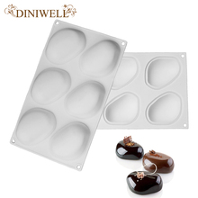DINIWELL Bakeware Baking Pastry Mould 6-Cavity Stone Design Silicone Mold For Soap Pudding Ice Cream Custard Breads Cake