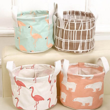 New Cartoon Toy Cosmetic Storage box Cotton Linen Desktop Waterproof Kids Storage Basket Organizer makeup Storage Bag
