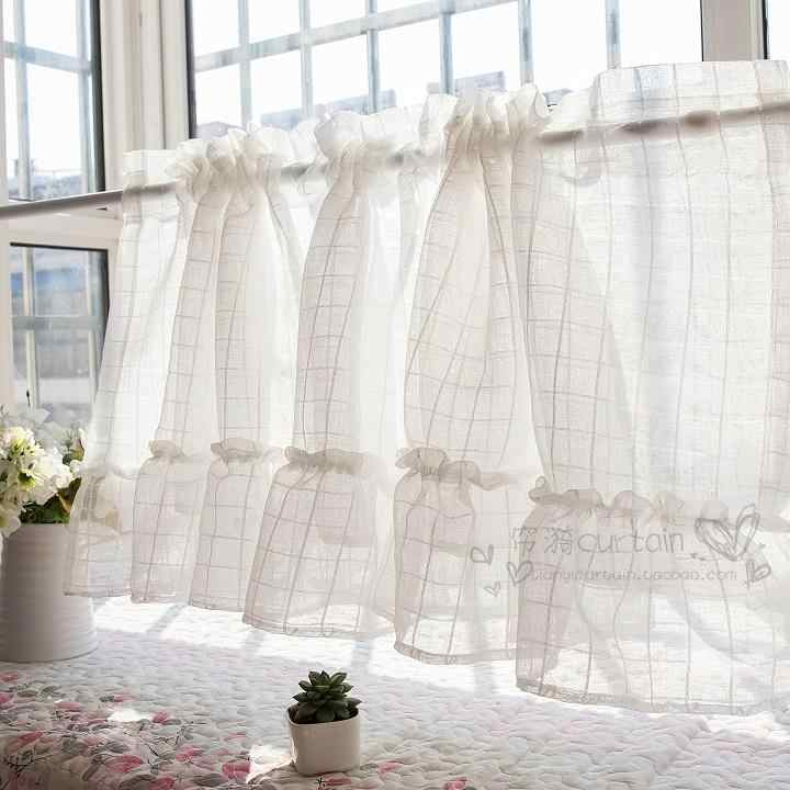 Korean Short Curtains for Kitchen White Yarn Half Curtain for Cafe Sweet Lace Window Valance Coffee Panel Drape Small Blinds