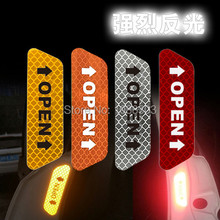 4PCS/Pack 3M High Reflective Warning Mark Color Change OPEN Motorcycle Bike Helmet Car Door Sticker Decals H009(China)