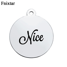 Fnixtar Stainless Steel Letter Message Nice Charm Pendant For Women Jewelry Making Accessories DIY Metal Round Charms 10pcs/lot