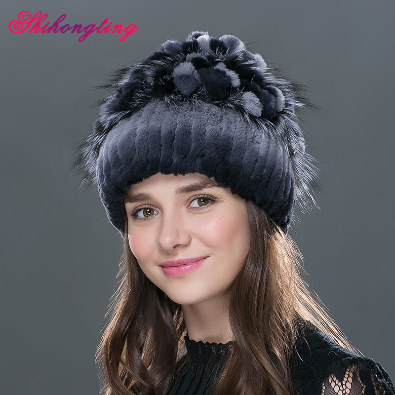 Natural Fur Beanies Cap Wram Winter Russia Female Rabbit Fur Skullies Purple Grape Floral Caps Quality Mothers Day Gift TM-04Одежда и ак�е��уары<br><br><br>Aliexpress