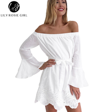 Elegant White Flared Sleeve Women Dress Sexy Off Shoulder Hollow Out Mini Dresses Autumn Winter Floral Hem Party Girls Vestidos