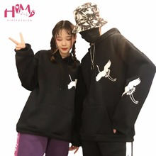Fashion Retro Chinese Style Crane Printing Thicken Hoodie Female Ulzzang Harajuku Black All-match Loose Hooded Hoodie Couple(China)